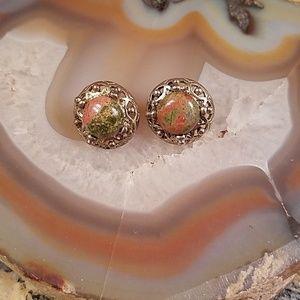 Green & orange stone brass stud earrings GUC